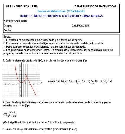 Exámenes resueltos Matemáticas 4º ESO y 1º Bachiller ...