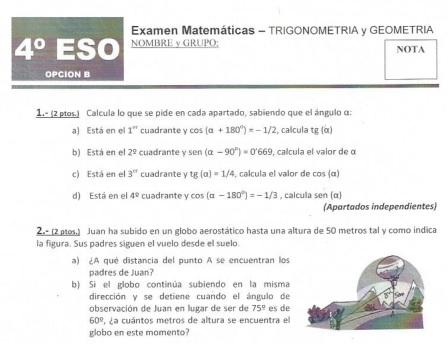 Exámenes resueltos Matemáticas 4º ESO y 1º Bachiller | Segundo Y ...